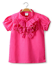 Ikat by Babyhug Solid Color Ruffled Top - Pink