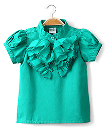 Ikat by Babyhug Solid Color Ruffled Top - Green