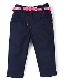 Baby League Plain Pant With Belt - Navy Blue