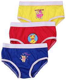 Babyhug Panties Multi Print Set Of 3 - Yellow Blue Red
