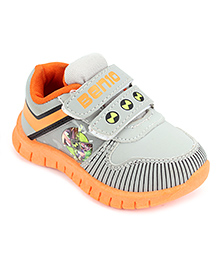 Ben 10 Casual Shoes With Dual Velcro Closure - Grey Orange