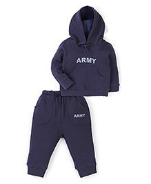 Anthill Fleece Hooded Sweatshirt And Pant Set Army Print - Navy Blue