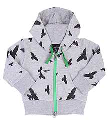 Anthill Full Sleeves Hooded Jacket Eagle Print - Grey