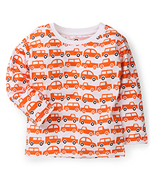 Anthill Full Sleeves T-Shirt Vehicle Print - White And Orange