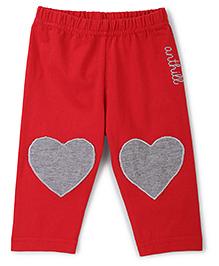 Anthill Full Length Leggings Heart Patch - Red