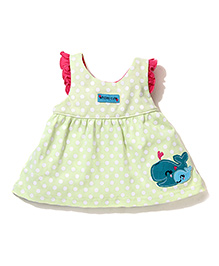 ToffyHouse Polka Dot Frock Whale Embroidery - Light Green