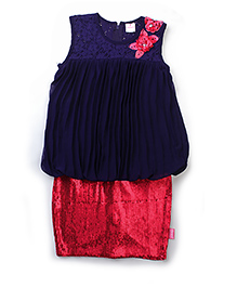 Chocopie Sleeveless Skirt Style Frock Sequin Work - Navy Blue & Red