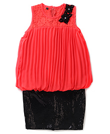 Chocopie Sleeveless Skirt Style Frock Sequin Work - Black Red