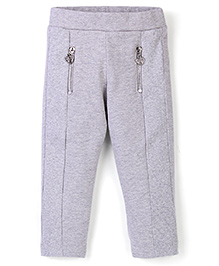 Vitamins Solid Colour Zippered Jeggings - Grey