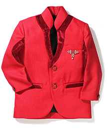 Babyhug Party Blazer With Brooch - Red