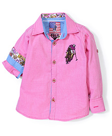 New York Polo Academy Solid Color Shirt With Logo- Pink