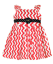 Coral Coloured Chevron Printed Frock With Black Dotted Belt