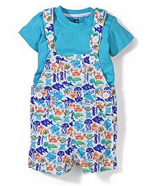 Baby League Printed Dungaree With T-Shirt - Aqua Blue