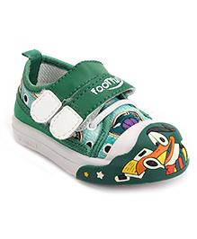 Footfun Casual Shoes With Dual Velcro Closure - Green