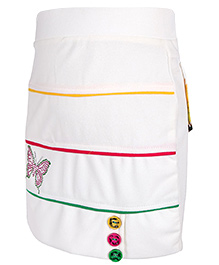 Skirt With Printed Back Pockets - Cream