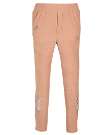 Jegging With Print At The Side - Beige