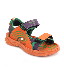 Footfun Floater Sandals With Velcro Closure - Orange
