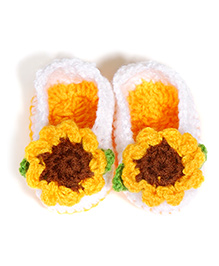 The Original Knit Sunflower Booties  - White