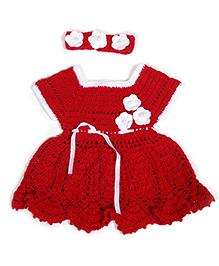 Dress With Headband - Red & White