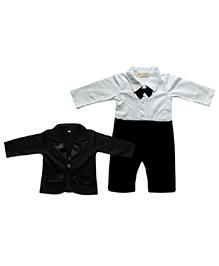 Tickles 4 U Gentlemen Romper With Bow Tie & Coat - Black & White
