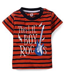 Baby League Round Neck Stripes Pattern T-Shirt - Dark Orange
