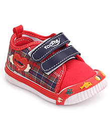 Footfun Casual Shoes With Dual Velcro Closure - Red