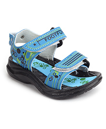 Footfun Floater Sandals With Velcro Closure - Blue Black
