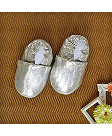 Shimmery Faux Leather Shoes - Silver