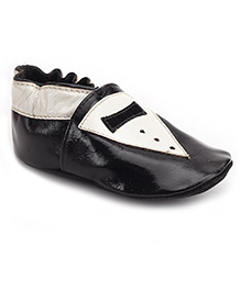 Cute Walk Leather Slip On Booties - Black And White