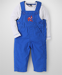 Baby League Dungaree With T-Shirt Truck Print - White And Blue