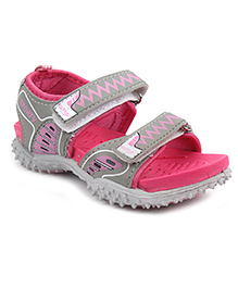 Footfun Floater Sandals With Velcro Closure - Pink Grey
