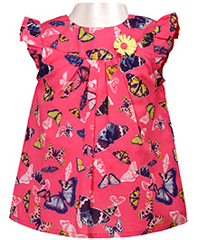 Pink Butterfly Print Top With Ruffle Sleeves