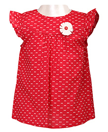 Red Bow Print Top With Ruffle Sleeves