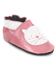 Cute Walk Slip-On Style Booties Cat Face Patch - Pink White
