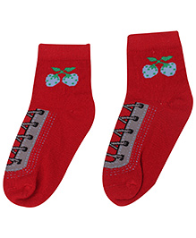 Cute Walk Ankle Socks Lace Design - Red