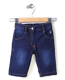 Babyhug Denim Wash Shorts - Dark Blue