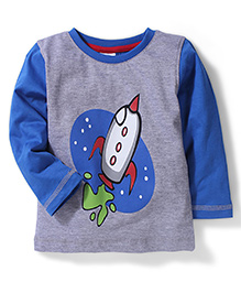 Babyhug Rocket Print T-Shirt - Grey And Blue