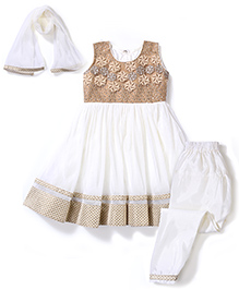 Babyhug Anarkali Net Dress Sequin Work- Cream Off White