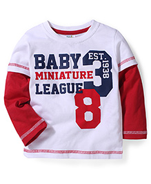 Babyhug Printed Doctor Sleeves T-Shirt- White And Red