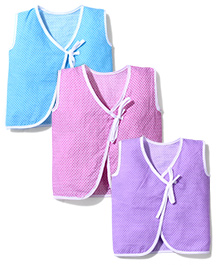 Babyhug Knotted Overlapping Jhabla Set of 3 - Purple Blue Pink