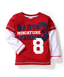Babyhug Printed Doctor Sleeves T-Shirt- Red And White
