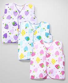 Babyhug Jhabla Set of 3 With Contrast Overlock - Pink Blue Purple