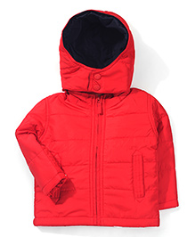 Baby League Plain Hooded Jacket - Red