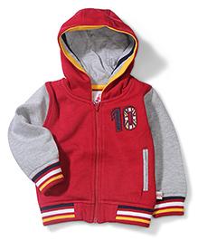 Baby League Sweatshirt With Flat Rib And Contrast Sleeves - Maroon Grey