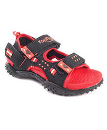 Footfun Floater Sandals With Velcro Closure - Red Black
