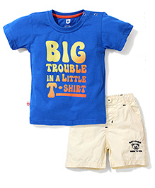 Baby League Printed T-Shirt & Solid Color Shorts - Blue & Light Yellow