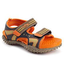Footfun Floater Sandals With Velcro Closure - Orange Beige