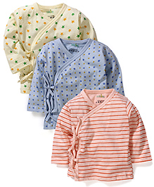 Babyhug Full Sleeves Overlap Jhabla Set of 3 - Peach Blue Lemon