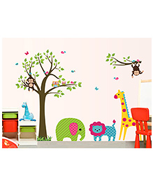 Pattern Animals Safari Wall Sticker - Multicoloured