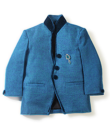Babyhug Velvet Collar Coat With Brooch - Blue